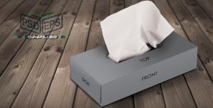 PSD14 1 300x152 - موکاپ جعبه دستمال کاغذی جعبه تیشو دستمال کلینکس در زوایای مختلف