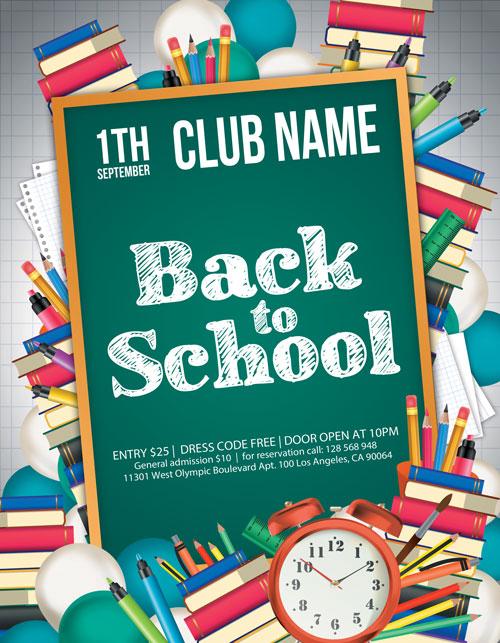 PSD15 3 - پوستر یا تراکت تبلیغاتی لایه باز بازگشت به مدرسه و جشنواره فروش لوازم و التحریر یا نوشت افزار