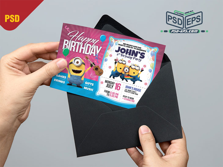 PSD25 4 - طرح آماده کارت دعوت جشن تولد کودک نوزاد با تصاویر کارتونی شاد کودکانه