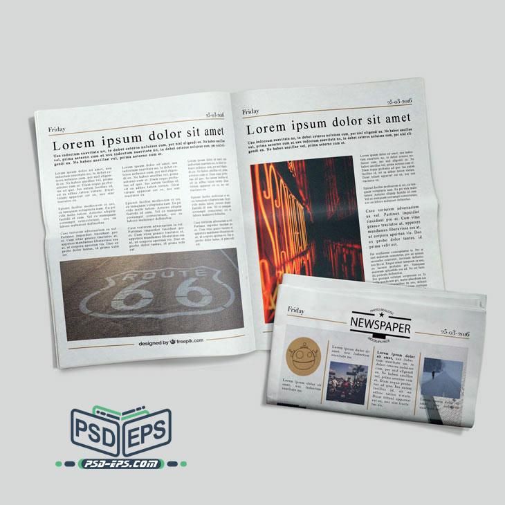 طرح آماده موکاپ روزنامه لایه باز بصورت صفحه اصلی بسته و صفحه دیگر روزنامه بصورت باز در کنار هم