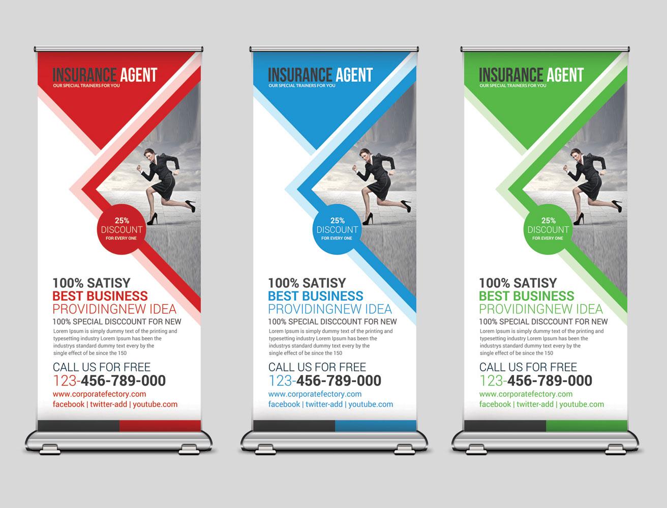 استند بنر لایه باز تجاری بصورت طرح آماده رول آپ بنر با طراحی مثلثی در سه رنگ زیبا