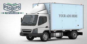 لایه باز موکاپ کانتینر یخچالی کامیونت باربری ویژه درج طراحی روی کشنده کامیون