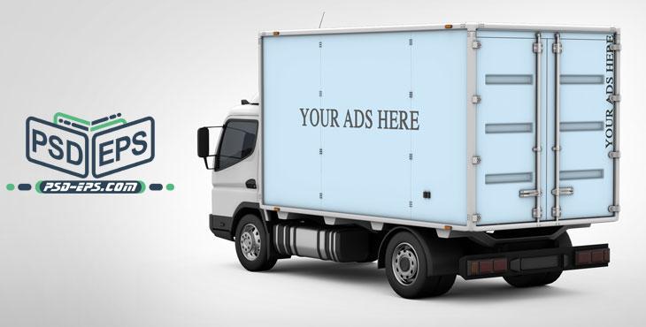 PSD13 2 - لایه باز موکاپ کانتینر یخچالی کامیونت باربری ویژه درج طراحی روی کشنده کامیون