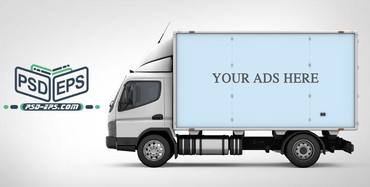 PSD13 3 - لایه باز موکاپ کانتینر یخچالی کامیونت باربری ویژه درج طراحی روی کشنده کامیون