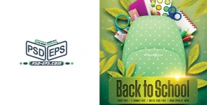 تراکت لایه باز کیف مدرسه یا پوستر لایه باز بازگشت به مدرسه با جشنواره فروش نوشت افزار یا لوازم التحریر