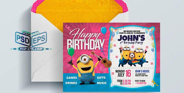 PSD25 1 - طرح آماده کارت دعوت جشن تولد کودک نوزاد با تصاویر کارتونی شاد کودکانه