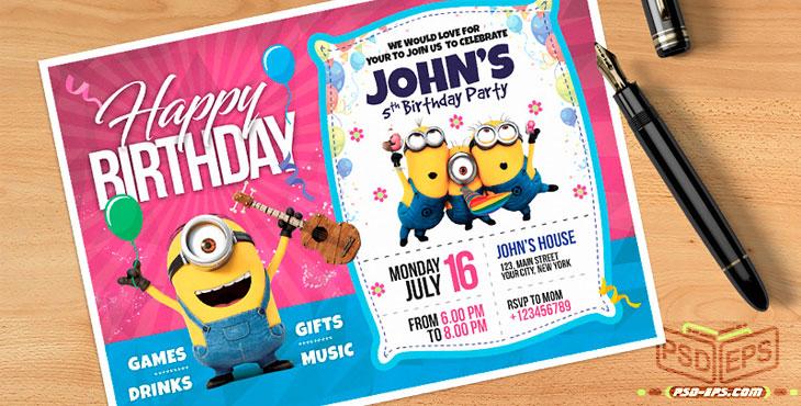 PSD25 2 - طرح آماده کارت دعوت جشن تولد کودک نوزاد با تصاویر کارتونی شاد کودکانه