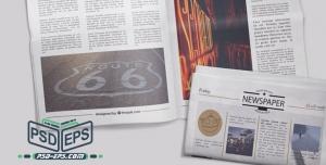 PSD7 1 300x152 - طرح آماده موکاپ روزنامه لایه باز بصورت صفحه اصلی بسته و صفحه دیگر روزنامه بصورت باز در کنار هم