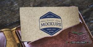 موکاپ کارت ویزیت یا لوگو آرم در کاور یا جلد چرمی قهوه ای بسیار فاخر و شیک