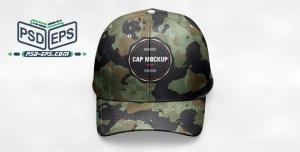 موکاپ کلاه لبه دار یا آفتابی پلنگی نظامی و ارتشی لایه باز با زاویه دید از مقابل مایل به بالا یا موکاپ کلاه اسپرت