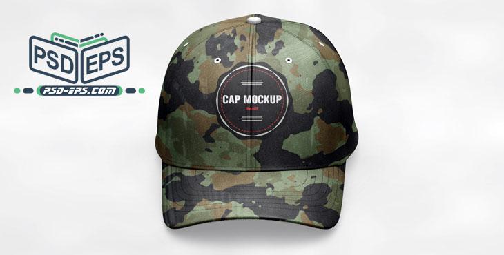 psd2 2 - موکاپ کلاه لبه دار یا آفتابی پلنگی نظامی و ارتشی لایه باز با زاویه دید از مقابل مایل به بالا یا موکاپ کلاه اسپرت