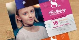کارت دعوت جشن تولد کودکان و نوزادان بصورت طرح آماده لایه باز با رنگ بندی جذاب و شاد