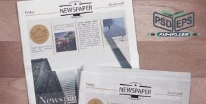 موکاپ روزنامه صفحه اصلی بصورت باز و بسته در کنار هم با پس زمینه چوبی + تغییر پس زمینه روزنامه