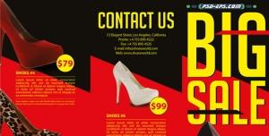 لایه باز بروشور کفش و کیف یا کاتالوگ فروشگاه کفش پاشنه بلند زنانه با قیمت و عنوان فروش بزرگ