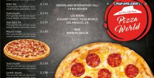 لایه باز بروشور فست فود و منوی پیتزا فروشی مخصوص گوشت و قارچ با عکس پیتزا مخصوص خوشمزه و مشخصات قیمتی و مواد به کار رفته در آن