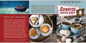 لایه باز کافی شاپ با عکس های زیبای فنجان قهوه با هات چاکلت اضافه و اسپرسو کاپوچینوی خوشمزه در کاتالوگ بروشور زیبا