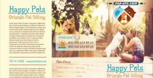 لایه باز کلینیک حیوانات خانگی و کاتالوگ درمانگاه سگ، گربه و بروشور لایه باز نگهداری از حیوان ها و پرندگان
