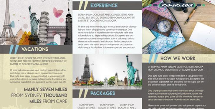 بروشور لایه باز گردشگری و توریسم با تصاویری از اماکن پر بازدید گردشگران ویژه آژانس های مسافرتی و تور گردانان حرفه ای