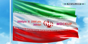 tarh 009 2 300x152 - لایه باز موکاپ پرچم ایران احتزاز یافته همراه با میله پرچم که قابلیت درج هر تصویر یا عکس پرچم کشورهای مختلف را دارد