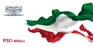 دانلود لایه باز فتوشاپ پرچم ایران بصورت پارچه های سه رنگ مجزا احتزاز یافته در باد با زاویه ها و اشکال مختلف با کیفیت بالا ویژه تبلیغات انتخاباتی