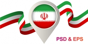 tarh 029 3 300x152 - روبان پرچم ایران و با نشان موقعیت یا لوکیشن نقشه که داخل آن پرچم ایران با آرم الله کار شده است