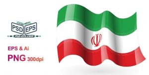 وکتور پرچم ایران فانتیزی کارتونی بسیار زیبا که به اهتزاز درآمده و دارای چین های براق زیبایی است + PNG
