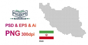 فتوشاپ نقشه ایران به همراه پرچم ایران با طراحی فانتزی لایه باز بصورت وکتور و PSD + PNG