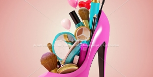 Beauty 999 300x152 - عکس با کیفیت کفش فانتزی صورتی همراه با لوازم آرایش که درون آن چیده شده است