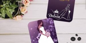 کارت ویزیت لایه باز مزون و تشریفات عروس ویژه خدمات مجالس بسیار زیبا و عروس کارتونی