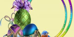 لایه باز عکس فانتزی تخم مرغ های رنگی گل پروانه و پرنده زیبا درون حلقه های رنگی شاد و رنگارنگ + PSD