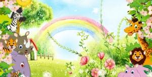 قاب و عکس و فریم کودکانه منظره رنگین کمان و حیوانات با طرحی شاد بصورت لایه باز مناسب مهد کودک و پیش دبستانی و دبستان + PSD