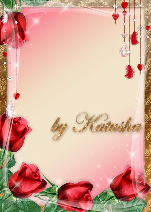 p25 - قاب گل رز قرمز یا فریم عاشقانه بصورت لایه باز طرح لوح تقدیر و نامه عاشقانه و فانتزی + PSD