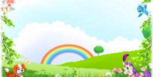 قاب و عکس و فریم کودکانه منظره با رنگین کمان و حیوانات با طرحی شاد بصورت لایه باز مناسب مهد کودک و پیش دبستانی و دبستان + PSD