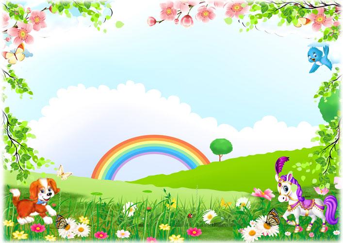 p262 - قاب و عکس و فریم کودکانه منظره با رنگین کمان و حیوانات با طرحی شاد بصورت لایه باز مناسب مهد کودک و پیش دبستانی و دبستان + PSD