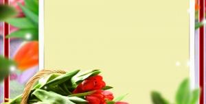قاب گل رز قرمز یا فریم عاشقانه با سبد گل بصورت لایه باز طرح لوح تقدیر و نامه عاشقانه و فانتزی