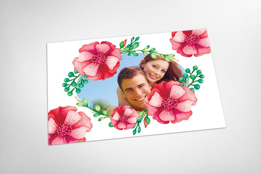019 1 psd A5 CMYK 300dpi - کارت دعوت لایه باز عروسی با امکان درج عکس تصویر عروس و داماد بهمراه طراحی فانتزی از گل ها