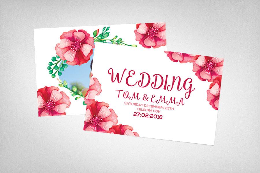 کارت دعوت لایه باز عروسی با امکان درج عکس تصویر عروس و داماد بهمراه طراحی فانتزی از گل ها
