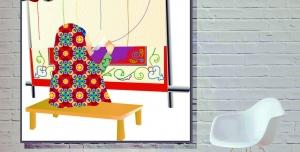 03 300x152 - وکتور نقاشی دختر قالیباف همراه با دار قالی و دختر چادری زیبا