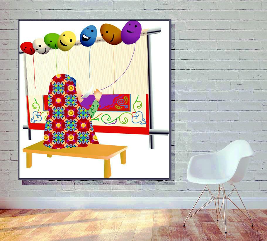 وکتور نقاشی دختر قالیباف همراه با دار قالی و دختر چادری زیبا