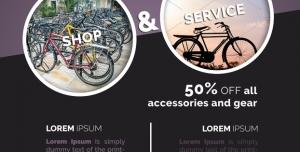 طرح لایه باز بروشور دو لت کاتالوگ تراکت فروشگاه دوچرخه ساده حرفه ای برقی کوهستان و فروش دوچرخه و لوازم جانبی با طیف رنگی طوسی خاکستری فیلی بهمراه بن تخفیف off