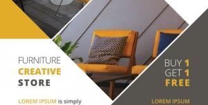 طرح لایه باز تراکت فروشگاه گالری مبلمان کلاسیک مدرن و تجهیزات مبلمان اداری با طیف رنگی زرد خردلی و طوسی