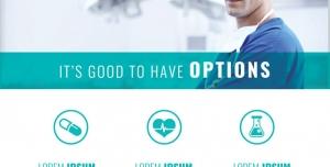 طرح لایه باز تراکت خدمات درمانی بهداشتی لابراتور آزمایشگاه داروسازی با طیف رنگی سبزآبی