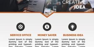 طرح لایه باز تراکت سازمان موسسه مشاوره تجاری دفاتر خدماتی به همراه ایده های پس انداز پول ایده های بیزینس و تجارت طیف رنگی طوسی نارنجی
