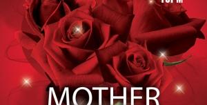 َََََََََََطرح لایه باز کارت دعوت کارت تبریک روز مادر با گل های رزسرخ یا کارت پستال یا کارت مهمانی باتم قرمز
