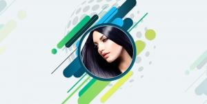 طرح لایه باز قاب فریم و فون عکس ویا عکس با کیفیت به همراه چهره دختر مو مشکی با طیف رنگی سبز و آبی