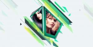 طرح لایه باز قاب عکس فریم و فون عکس نقاشی طراحی چهره ویا عکس با کیفیت با طیف رنگی سبز و آبی