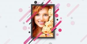 طرح لایه باز قاب عکس فریم و فون عکس نقاشی فانتزی با گل های رز قاب عکس عروس و داماد باتم آبی