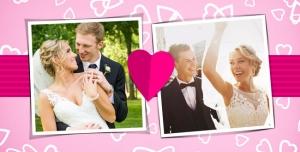 107 1 psd A4 RGB 300dpi1 300x152 - قاب ، فریم و فون عکس لایه باز عروسی با دو قاب و زمینه صورتی و قلب های سفید