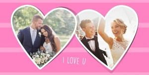 قاب ، فریم و فون عکس لایه باز مناسب تصاویر عروسی و عروس و داماد با زمینه صورتی و قاب قلبی شکل