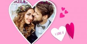 109 1 psd A4 RGB 300dpi1 300x152 - قاب ، فریم و فون عکس لایه باز مناسب تصاویر عروسی و زوج های جوان با زمینه صورتی و قاب قلبی